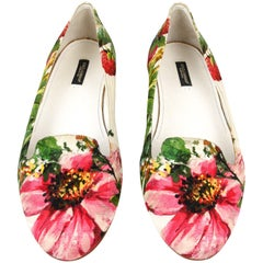 da9825686dd Dolce Gabbana Shoe Ballet Flat Exotic Flower Print Brocade Textile 40   10  New