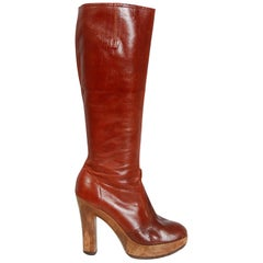 1970's Sbicca Designer Sienna Brown Leather Wood Platform Heel Knee-High Boots