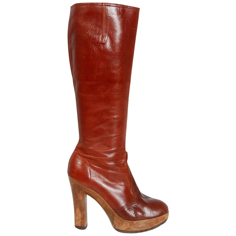 f6a6f5ff0149 1970 s Sbicca Designer Sienna Brown Leather Wood Platform Heel Knee-High  Boots For Sale
