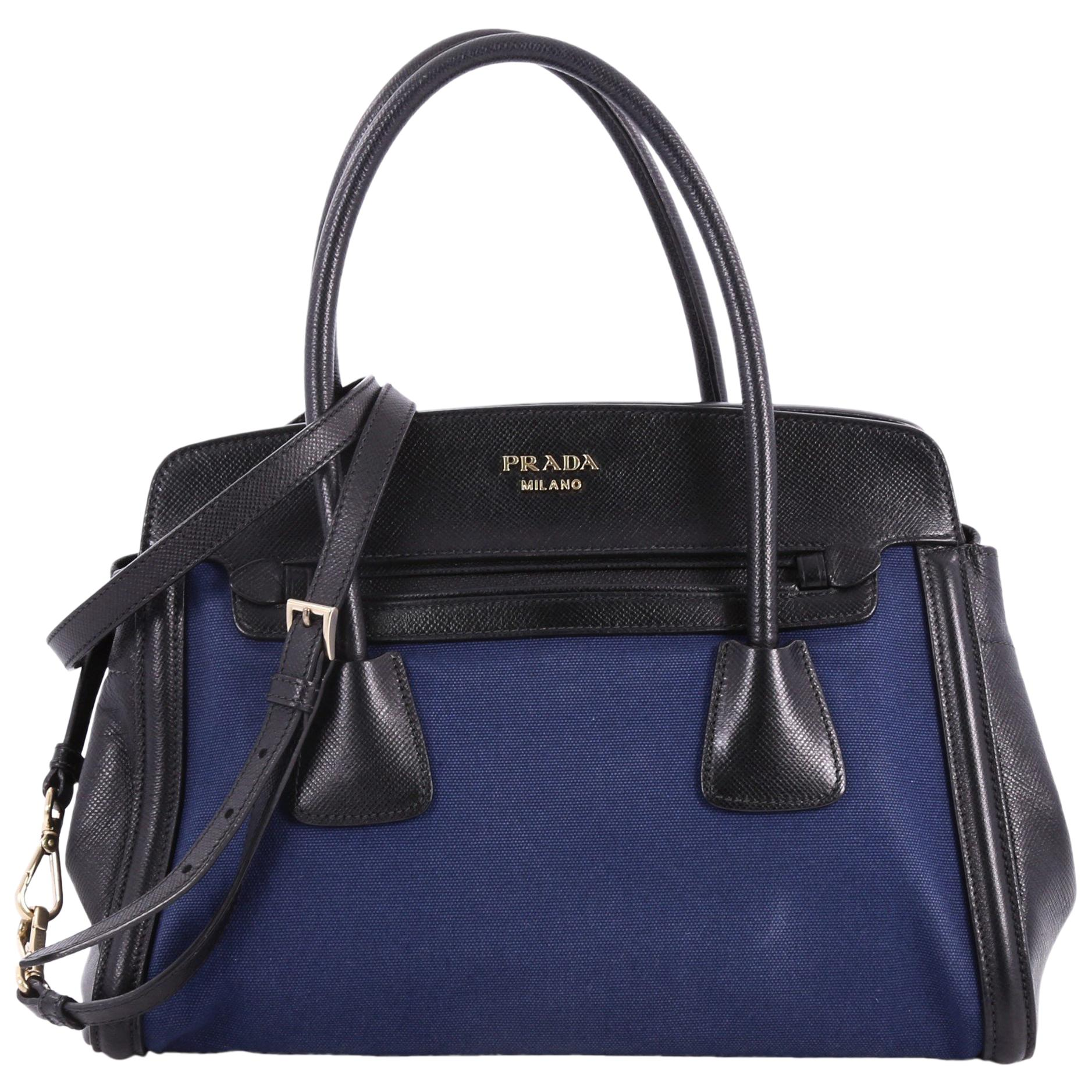 028164887b5b ... coupon code for prada frame tote canvas and saffiano leather 48b8c 198c8