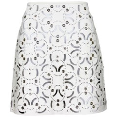 New Versace Runway Laser Cut Silver Tone Grommet White Leather Skirt  It. 40