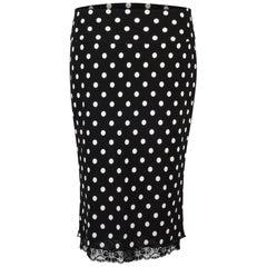 Dolce&Gabbana Skirt Polka Dot Lace Trim Stretch Pencil 38 / 4