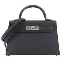 Hermes Kelly Mini II Handbag Blue Indigo Epsom with Palladium Hardware 20