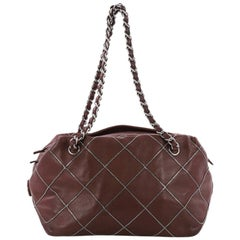 Chanel Soft Zip Bowler Bag Quilted Leather with Micro Chain Detail Medium