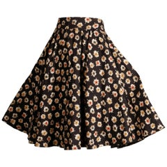 1990s Valentino Vintage Floral Print Linen Swing Skirt