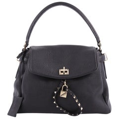 Valentino Twiny Convertible Top Handle Bag Leather Medium