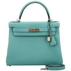 54f5a7ad708c New Hermes Kelly 28 Blue Atolle Togo Bag
