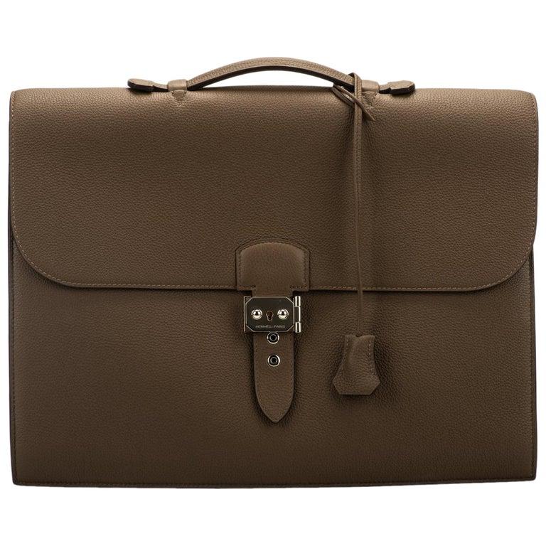 Hermes Etain Togo Palladium Briefcase