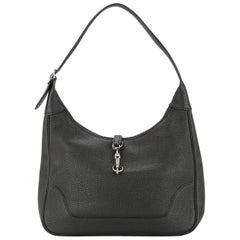 Hermes Black Leather Silver Buckle Large Hobo Style Carryall Shoulder Bag
