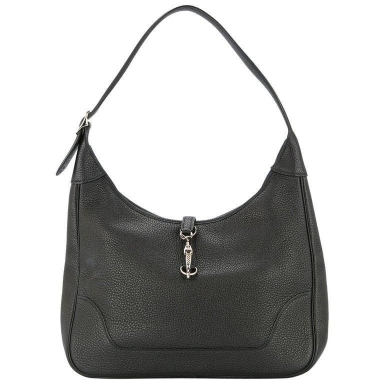 Hermes Black Leather Silver Buckle Large Hobo Style Carryall Shoulder Bag For Sale