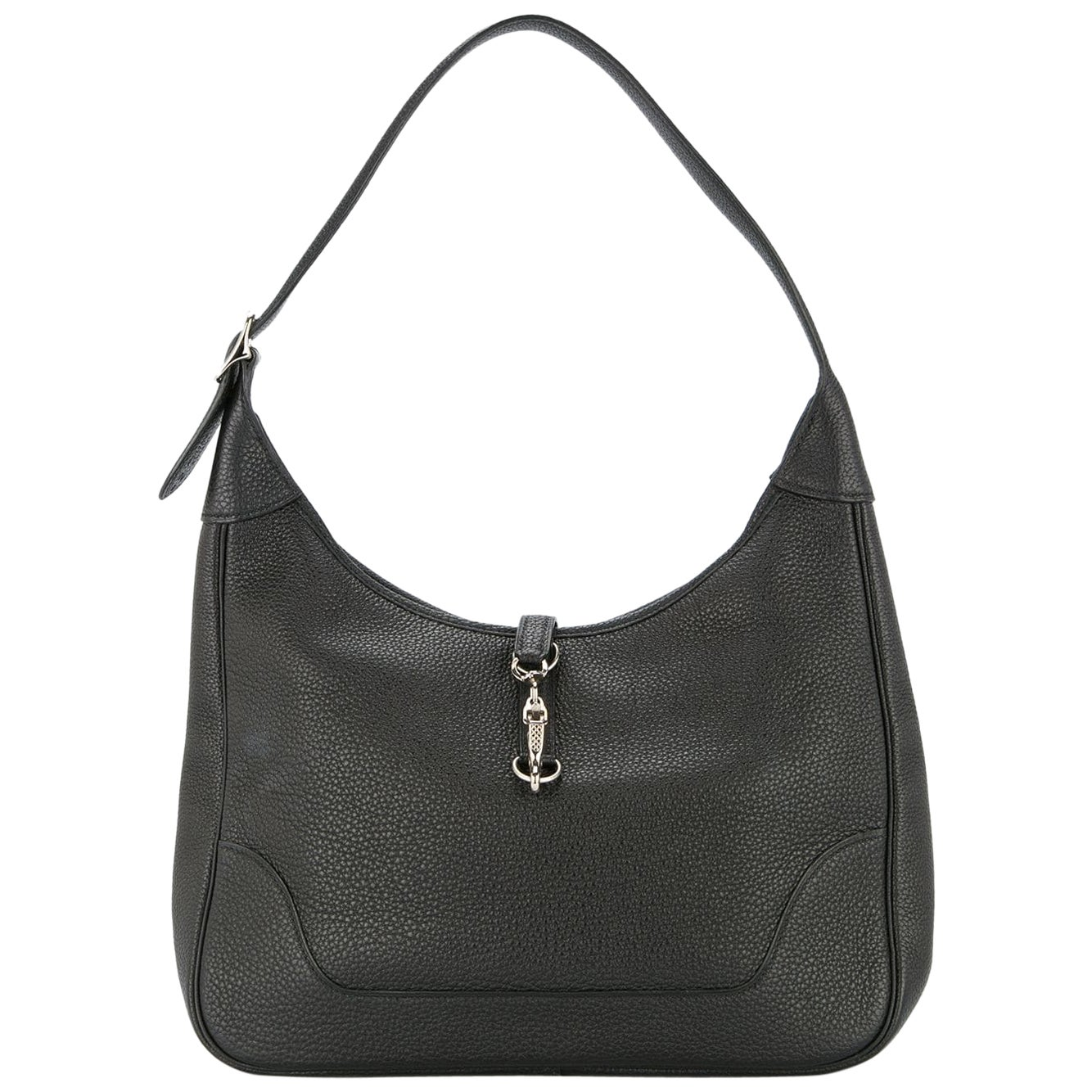 Hermes Black Leather Silver Buckle Large Hobo Style Carryall Shoulder Bag