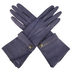 Vintage BERGDORF GOODMAN Size S Navy Leather Snap Strap Gloves