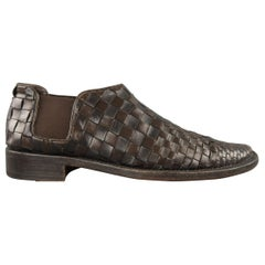 Men's ROCCO P. Size 7.5 Brown Woven Leather Slip On Loafers
