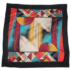 CHARLES JOURDAN Black Red Teal Yellow & Beige Geometric Art Silk Scarf Shawl
