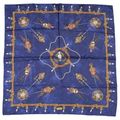 Vintage BOTTEGA VENETA Navy Silk Royal Jewelry & Angels Scarf