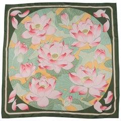 Vintage HERMES Green & Pink Fleurs de Lotus Print Silk Scarf