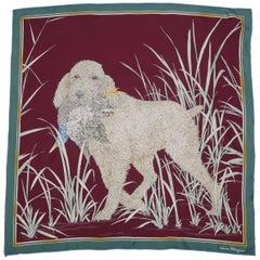 Vintage SALVATORE FERRAGAMO Burgundy Dog with Duck Print Silk Scarf