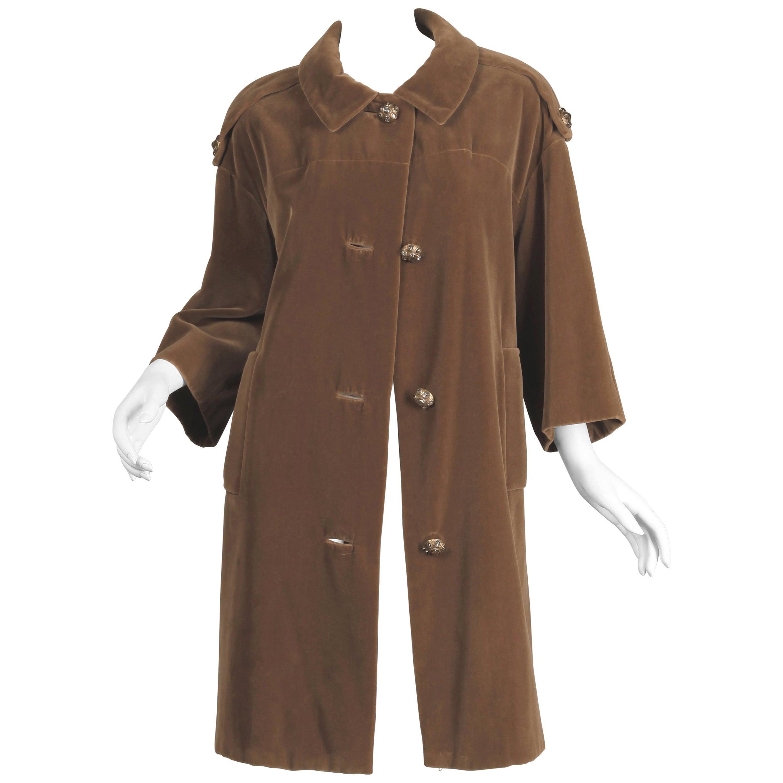 1960s Charles Cooper for Nan Duskin Vintage Brown Velvet Military Mod Coat
