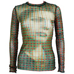 Jean Paul Gaultier Vintage Optical Illusion Profile Sheer Mesh Top