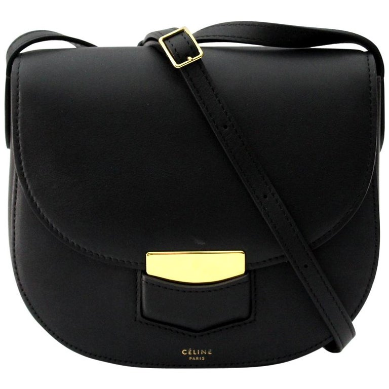 ae59310fd97 Cèline Small Trotteur Black Leather Crossbody Bag