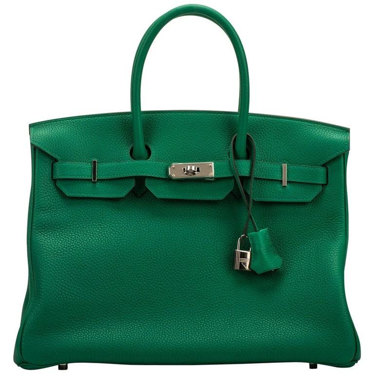 New Hermes 35 Verso Vert Vertigo Togo Birkin Bag
