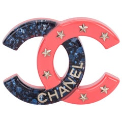 New Chanel Lucite Blue & Coral CC Pin