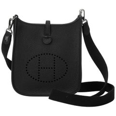 New Hermes Black Clemence Mini Evelyne Bag