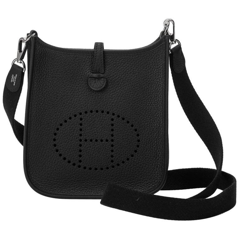 New Hermes Black Clemence Mini Evelyne Bag