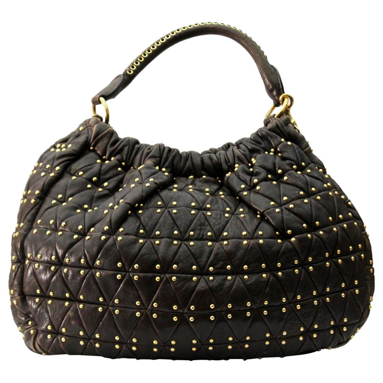 892867d6b1f Miu Miu Brown Leather Shoulder Bag For Sale at 1stdibs