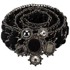 Chanel Black Wool & Chain Oversize Belt