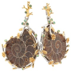 Extraordinary Sterling Silver Gold Ammonite Emerald Nautilus Shell Earrings