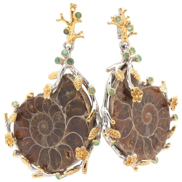 869506f71 Artisan Gold on Sterling Ammonite Nautilus Shell Emerald Earrings For Sale
