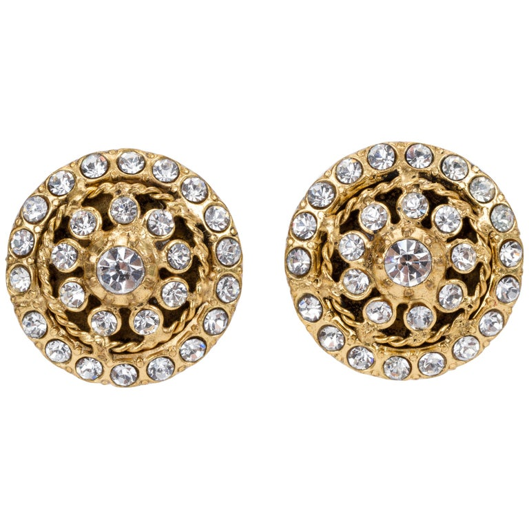 1970's Vintage Chanel Rhinestone Clip Earrings For Sale