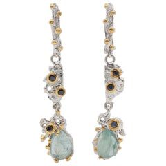 Brutalist Sterling Silver Gemstone Earrings with Aquamarine,Sapphire, Vermeil