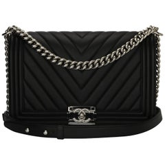 CHANEL New Medium Chevron Boy Black Calfskin with Shiny Silver Hardware 2016
