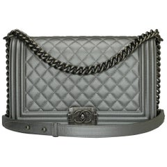 CHANEL New Medium Quilted Boy Silver Grey Caviar with Ruthenium Hardware 2018