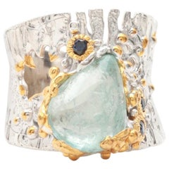 Sterling Silver Aquamarine Cabochon and Sapphire Ring Including Gold Wash