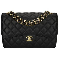 CHANEL Classic Jumbo Double Flap Black Caviar with Gold Hardware 2016