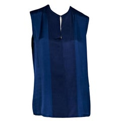 Blue Lanvin Silk-Blend Sleeveless Blouse