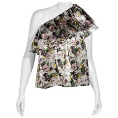 Multicolor MSGM Floral-Printed Asymmetrical Top