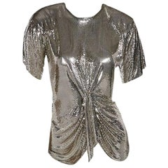 Silver Vintage Ferrara Mesh Party Top