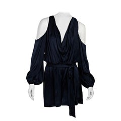 Navy Blue Zimmermann Draped Silk Satin Romper