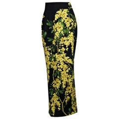 Black & Yellow Dolce & Gabbana Floral-Printed Skirt