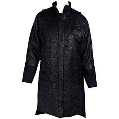 Black Piece d'Anarchive Jacquard Wool Coat