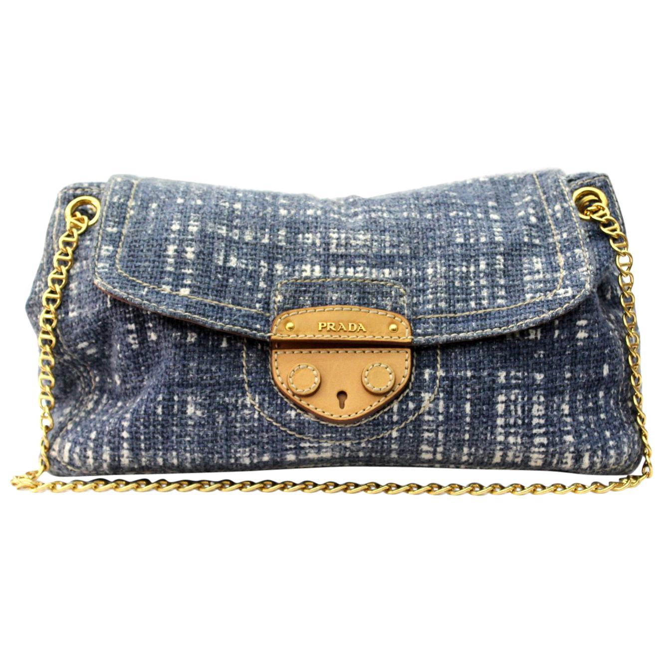 Prada Blue Wool Top Handle Bag