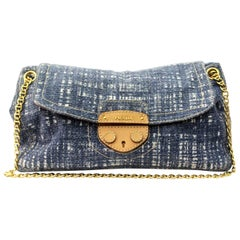 Prada Blue Wool Top Handle Bag