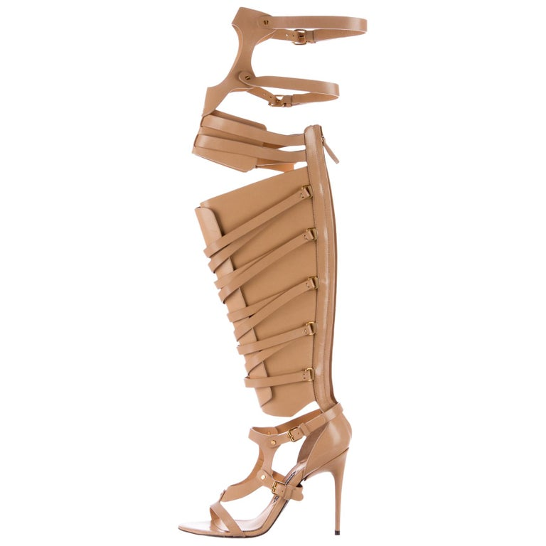 New TOM FORD Nude Leather Gladiator Sandals For Sale