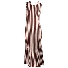 Rust & White Victoria Beckham Striped Midi Dress