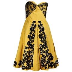 Yellow & Black Oscar de la Renta Strapless Dress