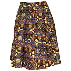 Multicolor Prada Printed Silk A-Line Skirt